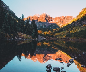 mountains, forest, and lake image