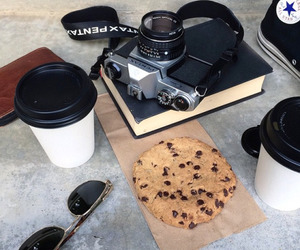 camera, coffee, and cookie image
