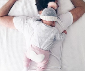baby, dad, and girl image