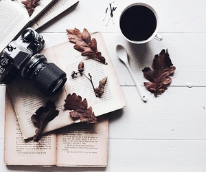 book, coffee, and camera image