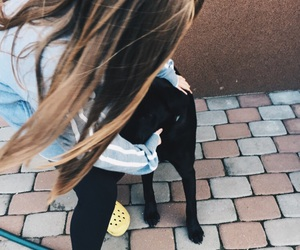 dog, little girl, and puppy image