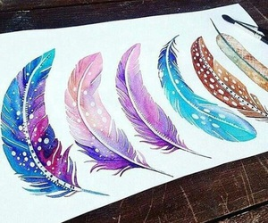 art, feather, and drawing image