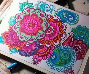 art, mandala, and colors image