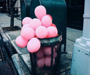 pink, balloons, and black image