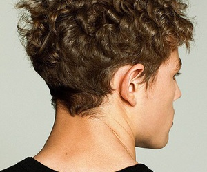 back of head, brunette, and curly hair image