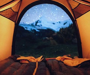 stars, tent, and adventure image