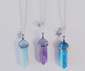 necklace, blue, and crystal image