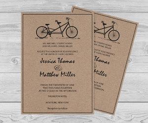 etsy, tandem bicycle, and wedding invitation image