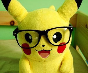 pikachu, glasses, and pokemon image