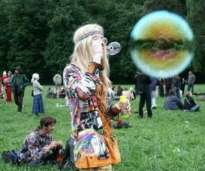 hippie, bubbles, and peace image