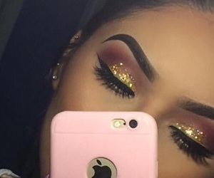 glitter, makeup, and iphone image