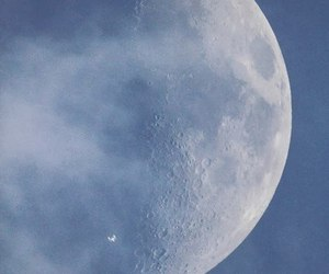 international space station, moon, and space image