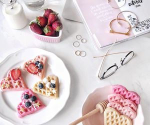 food, pink, and waffles image