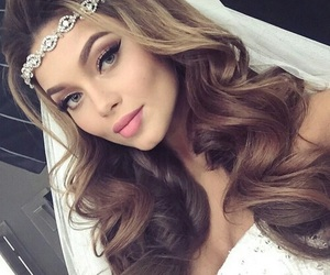 bride, hairstyle, and makeup image