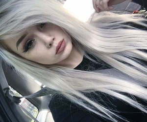 dyed hair, pretty, and white hair image