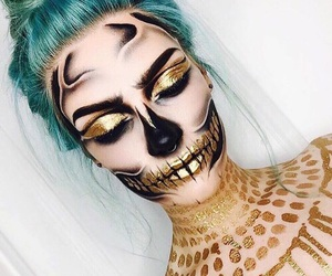 Halloween, makeup, and gold image