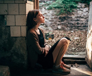 girl, thoughtful, and lonely image