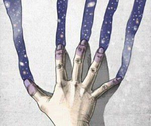art, hand, and galaxy image