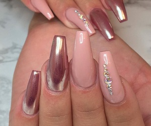 nails, diamonds, and pink image