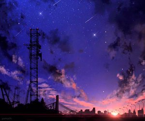 art, sky, and night sky image