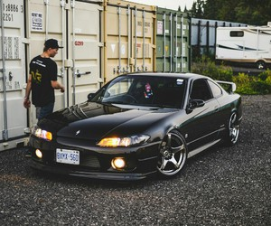 black, nissan, and cars image