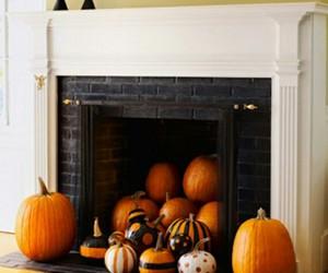 pumpkin, fireplace, and Halloween image