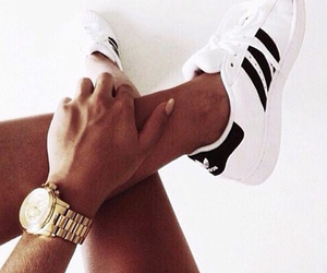 adidas, tan, and white image