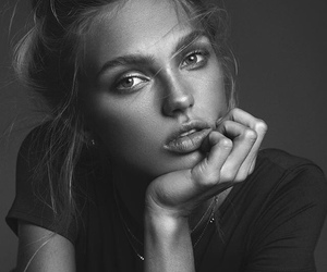 model, black and white, and girl image