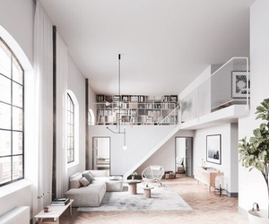 house, interior, and white image
