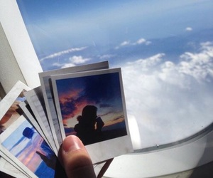 sky, polaroid, and travel image