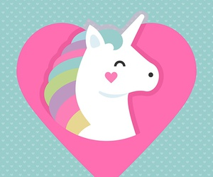 unicorn, heart, and kawaii image