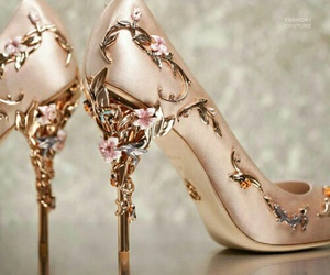 fairytale, shoe, and gold image