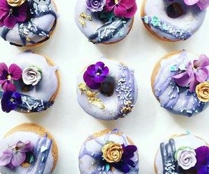 donuts, purple, and flowers image