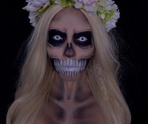 flower, skull, and flower crown image