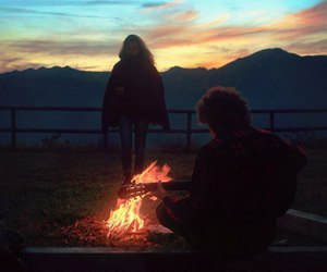 fire, nature, and couple image