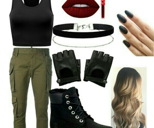booties, choker, and Polyvore image