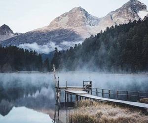 mountains, cold, and lake image