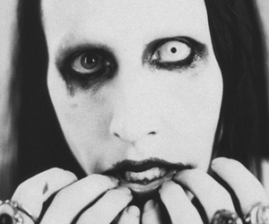 Marilyn Manson and black and white image