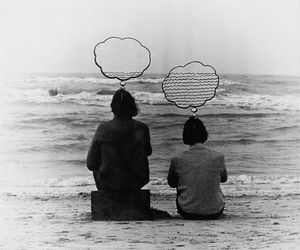 sea, black and white, and couple image