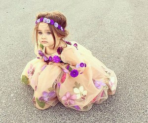baby, flowers, and dress image