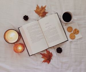 fall, candle, and book image