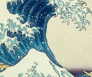 art, sea, and waves image