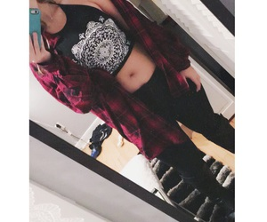 black, flannel, and happy image