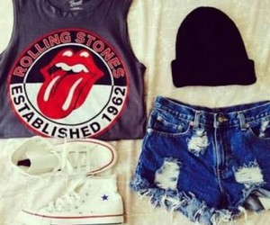 outfit, converse, and rolling stones image