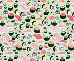 wallpaper, sushi, and pattern image