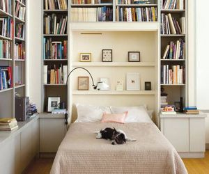 book, bedroom, and library image
