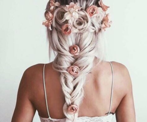 braid, long hair, and flowers image
