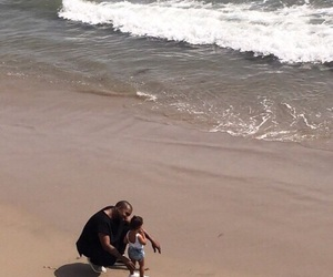 north west, beach, and kanye west image