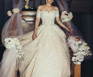 dress, wedding, and chic image