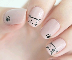 nails, pink, and cat image